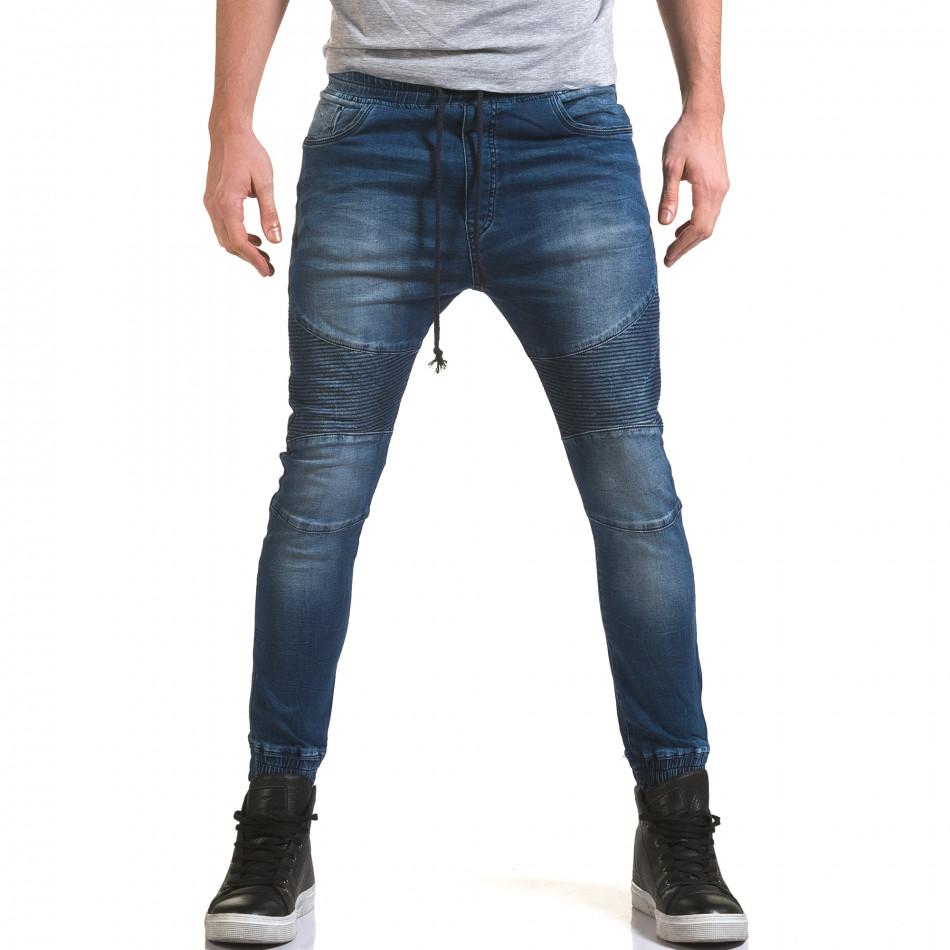 Мъжки дънки с кройка на потури с хоризонтални шевове it090216-19