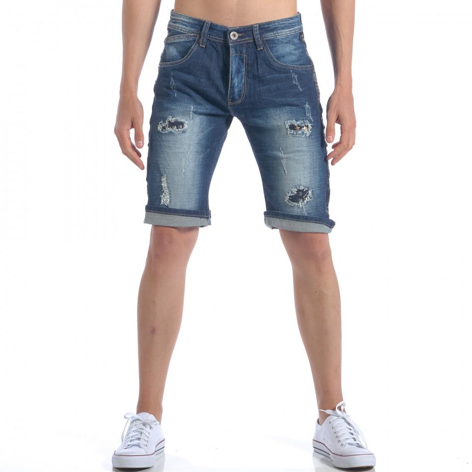 Мъжки къси дънки с метални детайли it050617-34