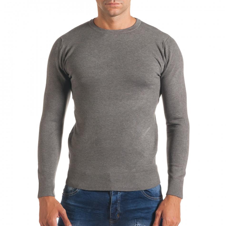 Мъжки светло сив изчистен пуловер с обло деколте it170816-43