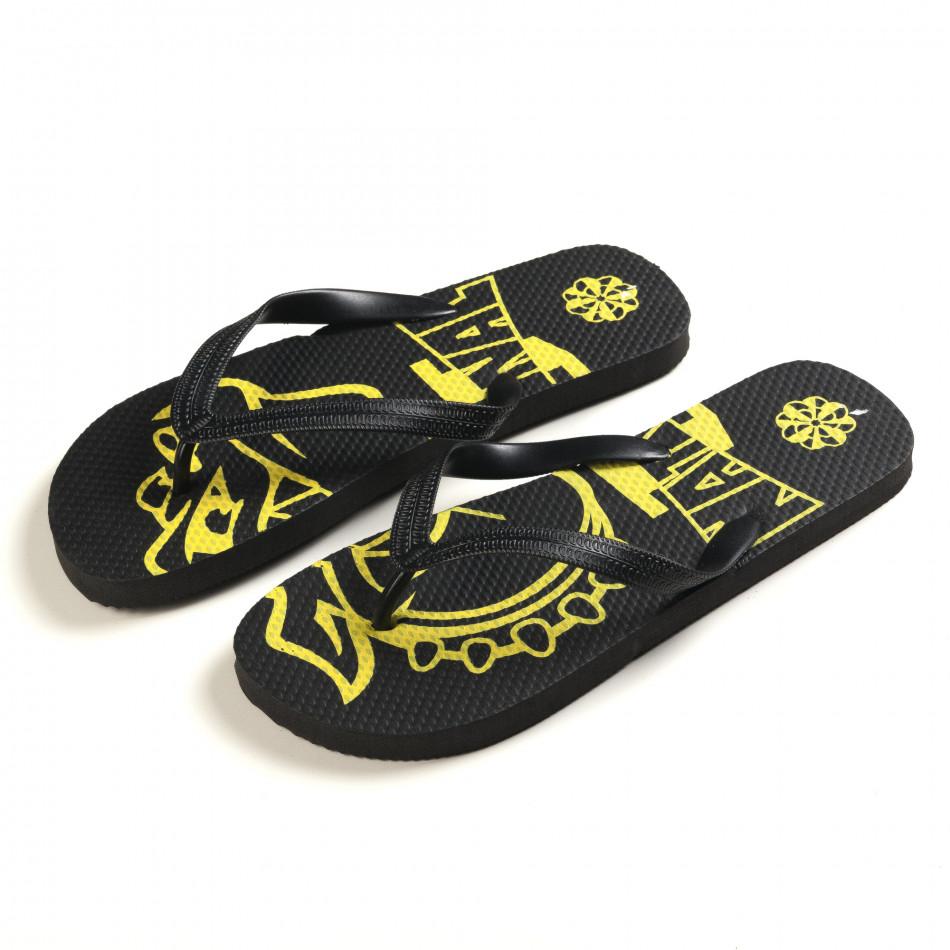 Мъжки черни джапанки с жълта рисунка it150616-11