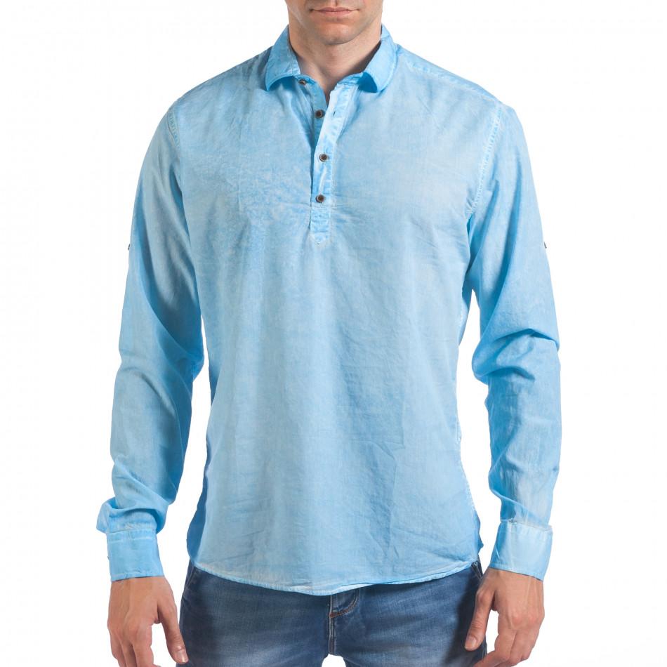 Мъжка светло синя риза със закопчаване до средата il060616-121