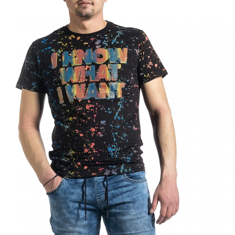 Мъжка черна тениска с принт и кристали gr270221-52
