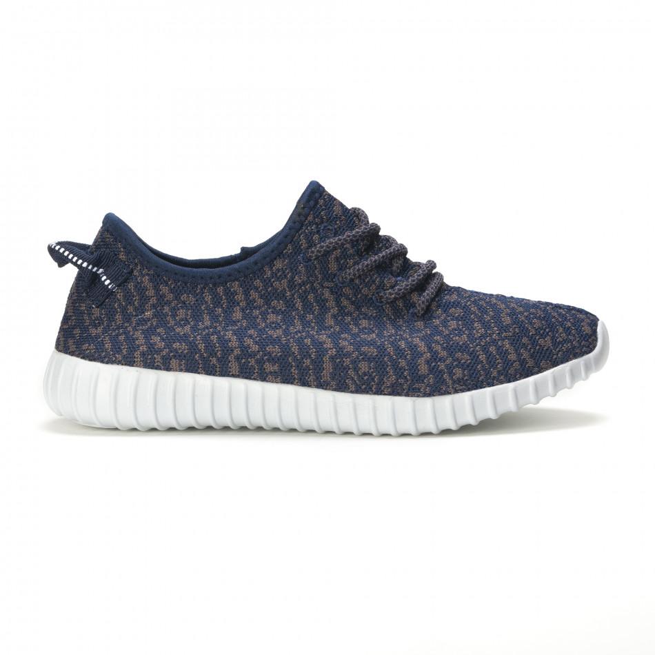 Мъжки сини маратонки със сив принт олекотени it090616-22