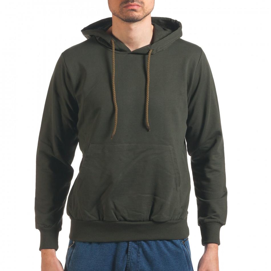 Мъжки тъмно зелен суичър с качулка it250416-86