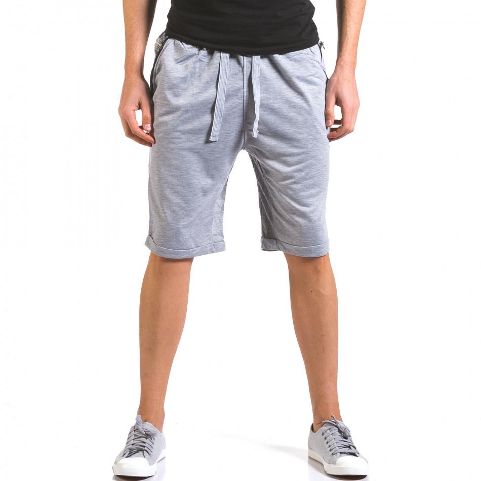 Мъжки сиви шорти с кожени детайли it160316-21