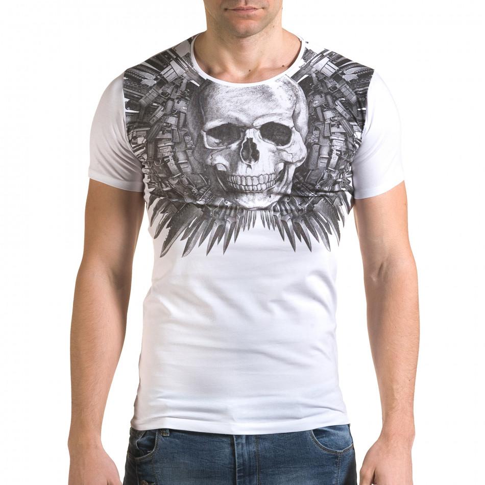 Мъжка бяла тениска с голям череп отпред il120216-50