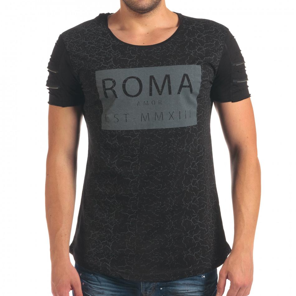 Мъжка черна тениска с надпис и скъсвания на ръкавите il210616-8