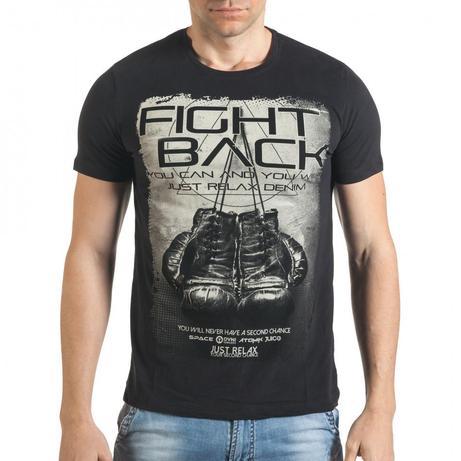 Мъжка черна тениска с надпис il140416-27