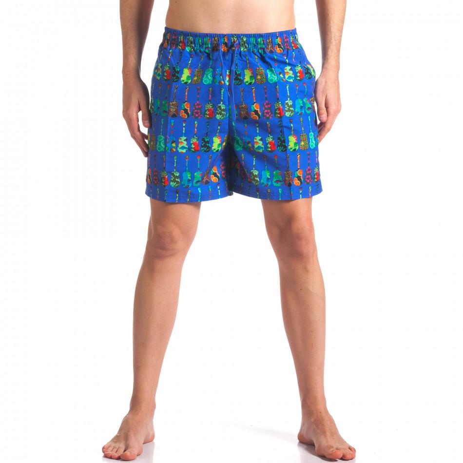 Мъжки сини бански с яки шарки it260416-44