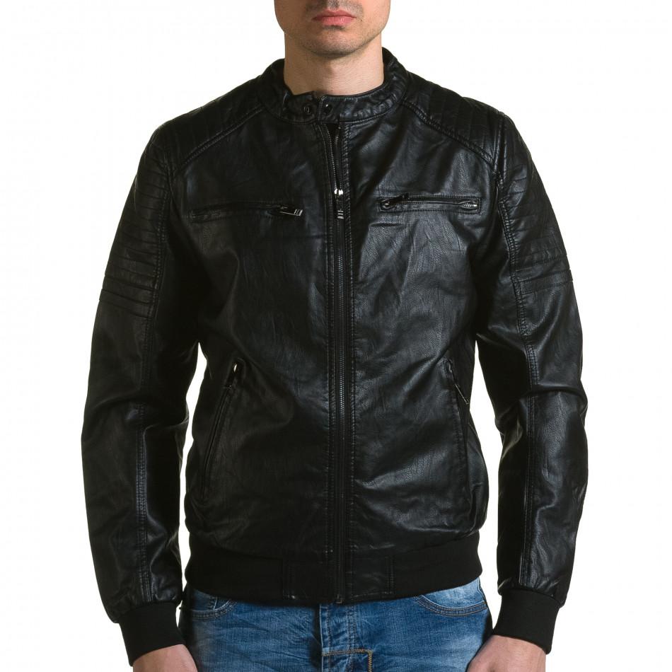 Мъжко черно кожено яке с джобове на гърдите ca190116-36