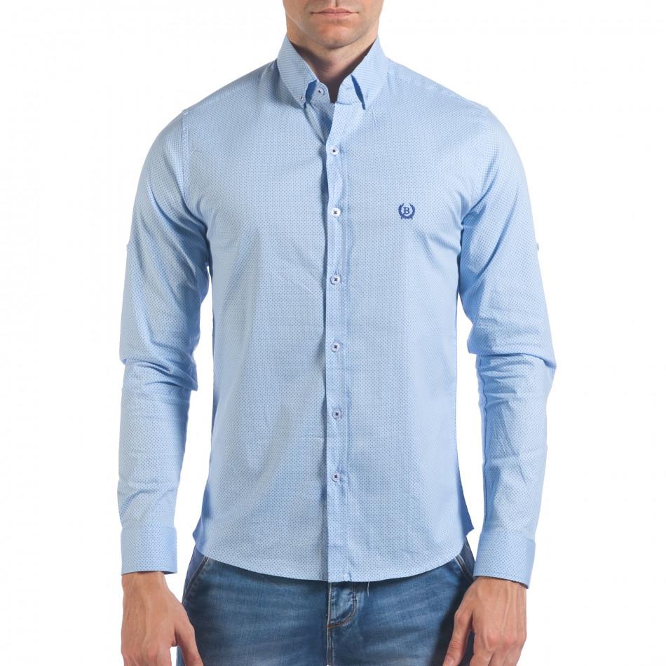 Мъжка синя риза с малки кръстчета il060616-118