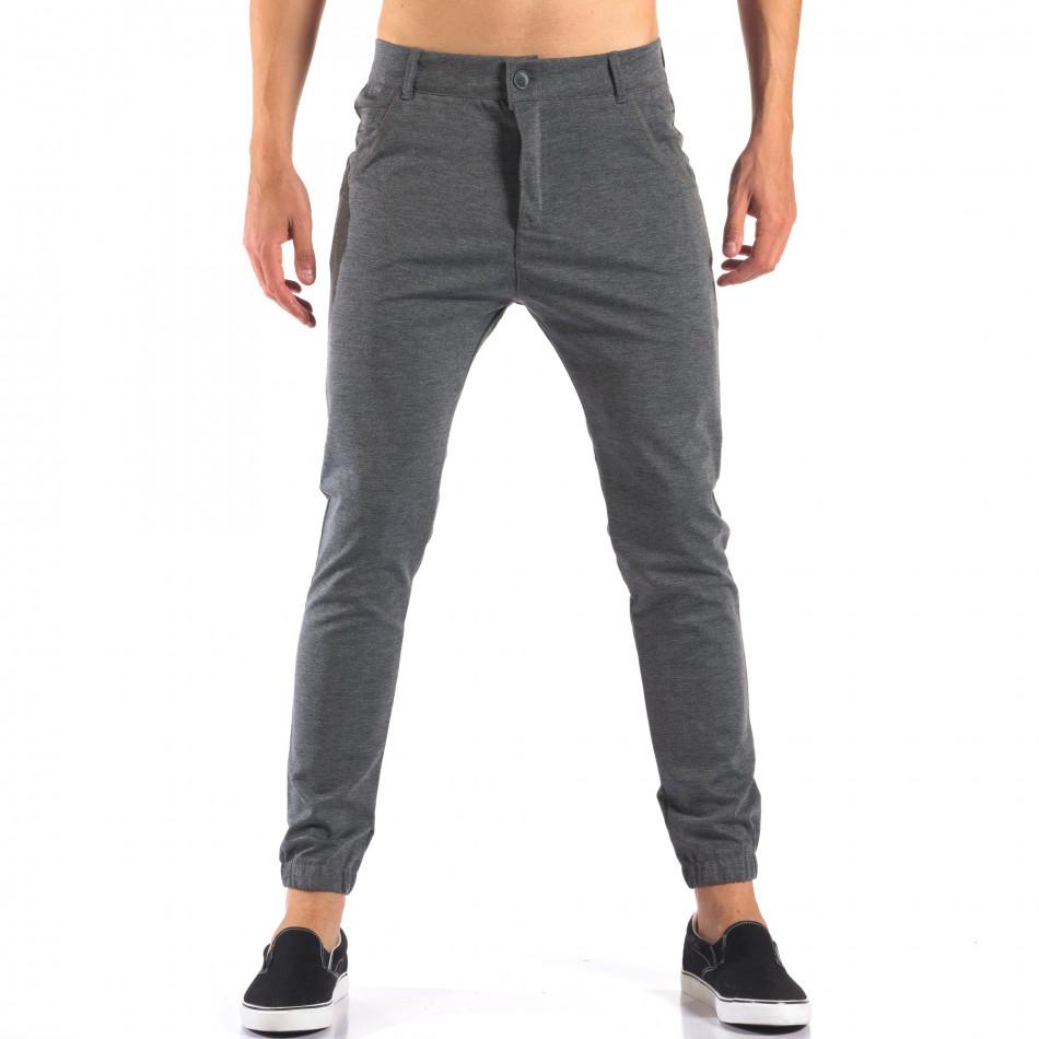 Мъжки светло сив панталон с еластични маншети на крачолите it160616-26