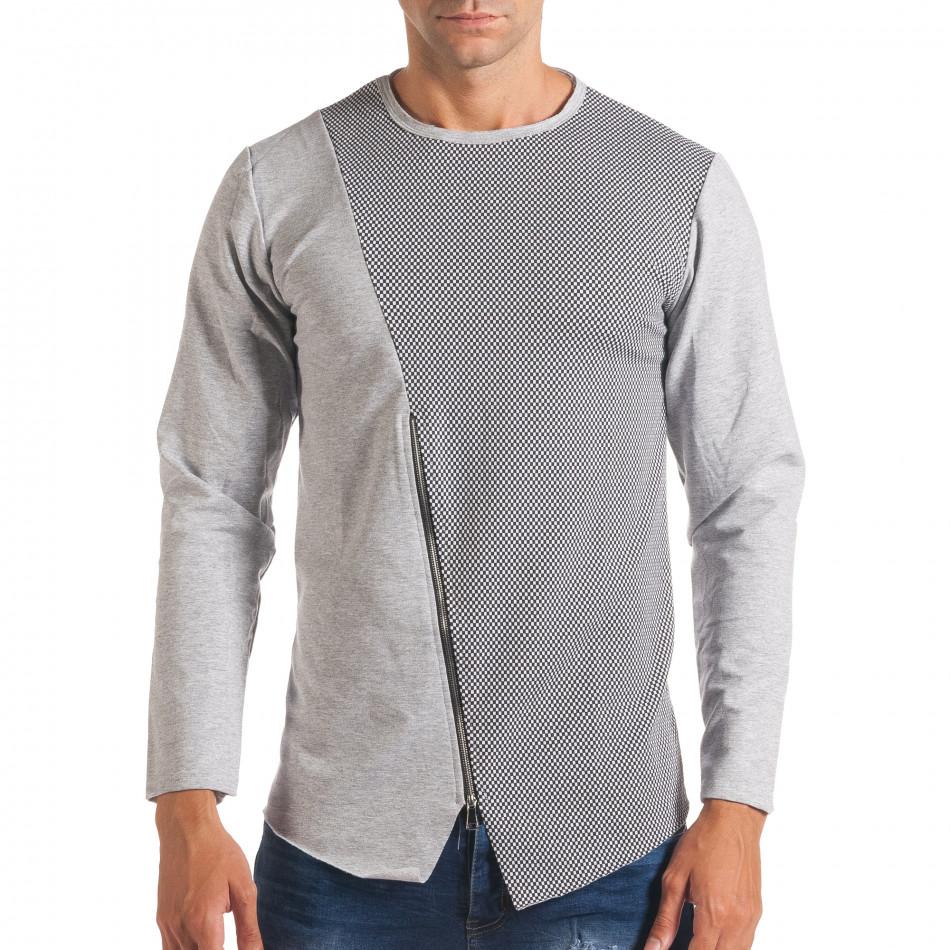 Мъжка сива блуза с декоративен цип it180816-6