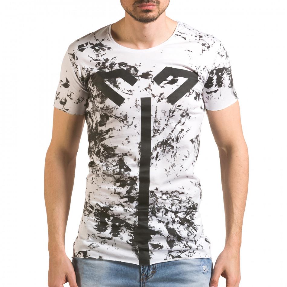 Бяла мъжка тениска с принтове удължена tsf060416-1