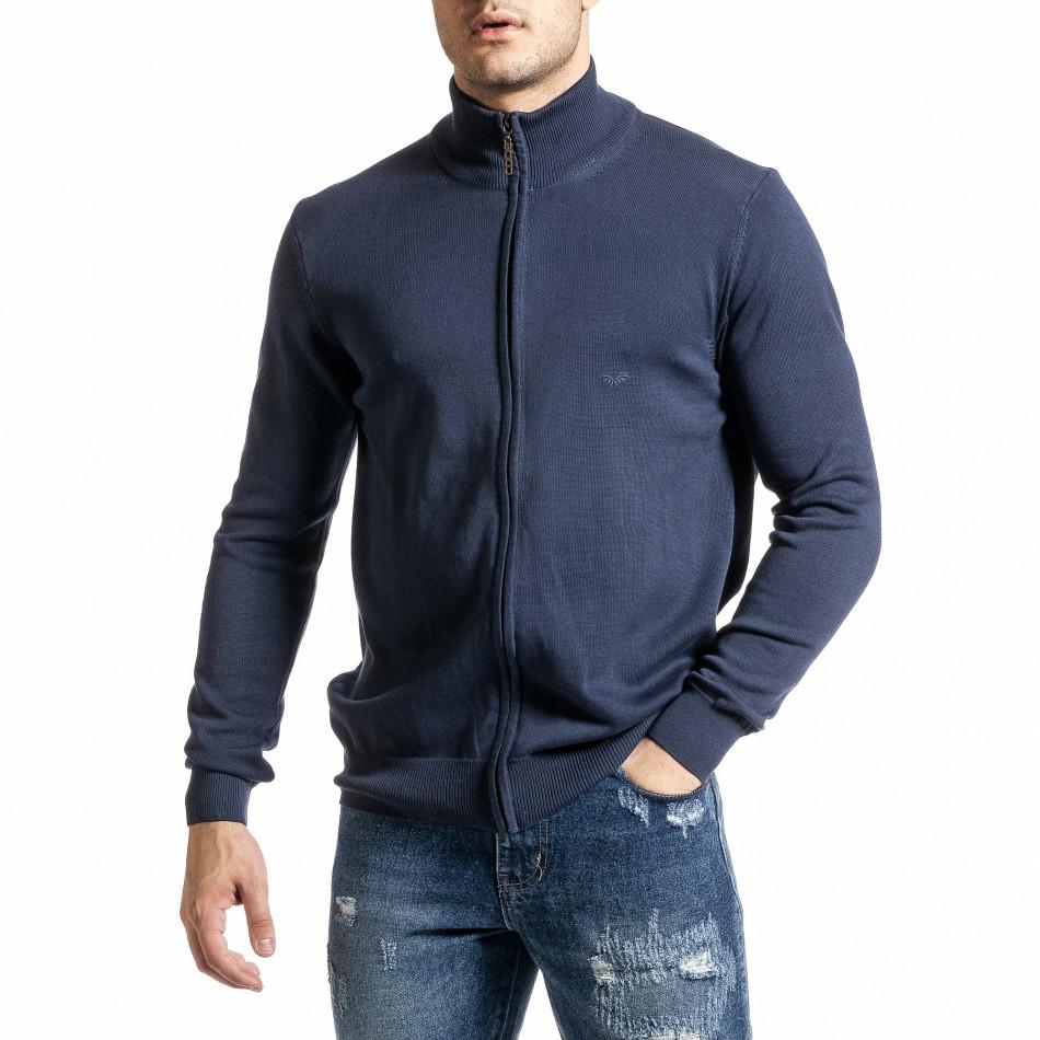 Фина мъжка жилетка с цип цвят деним tr231220-7