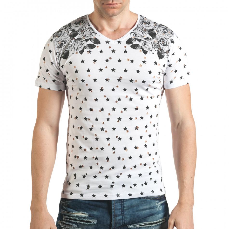 Мъжка бяла тениска с декоративни дупки и принт звезди и рози il140416-58
