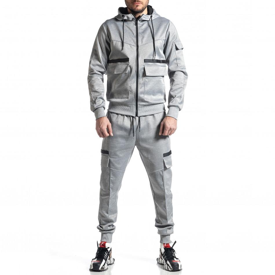 Мъжки сив спортен комплект 7джоба it010221-56