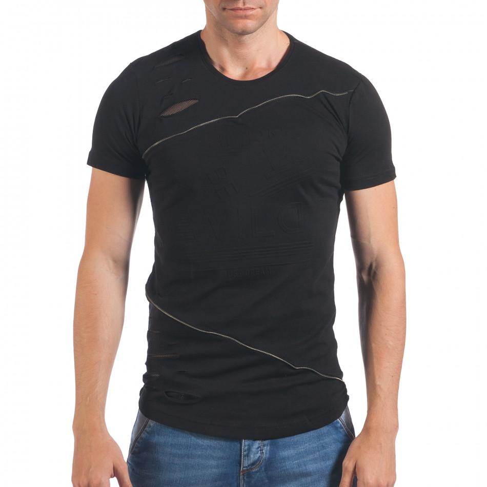 Мъжка черна тениска със зъбци от цип и декоративни скъсвания il060616-91