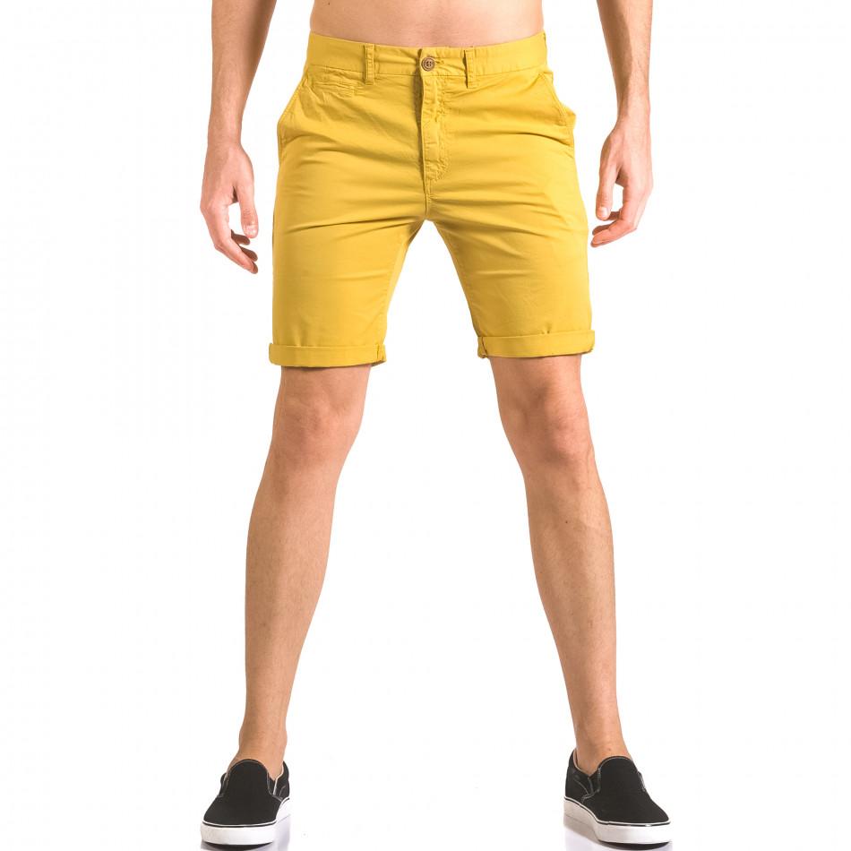 Мъжки жълти къси панталони с италиански джобове ca050416-59