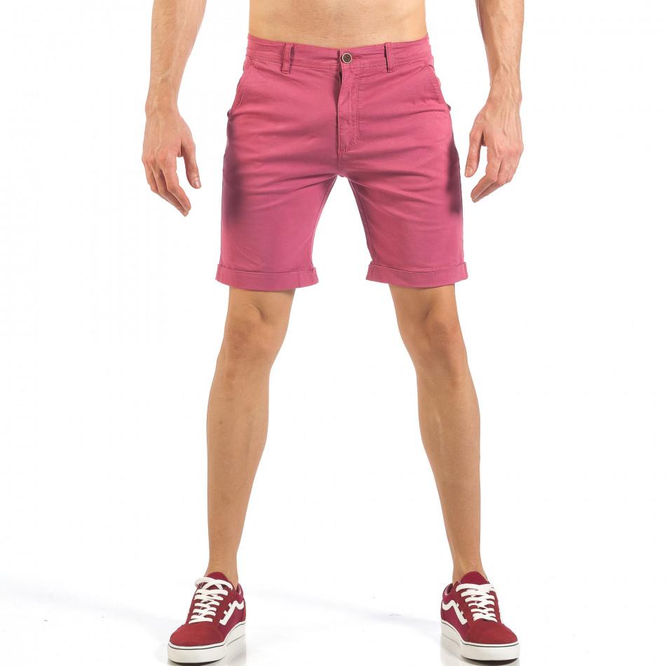 Мъжки розово-червени къси панталони  it260318-140