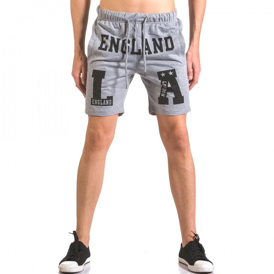 Мъжки сиви спортни шорти с надпис England ca050416-38