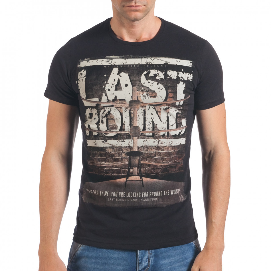 Мъжка черна тениска Last Round il060616-73