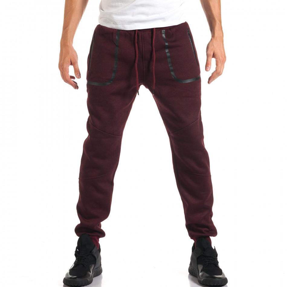Мъжко червено долнище с черен контур на джобвете it160916-34