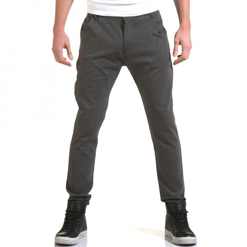 Мъжки светло сив панталон с малък детайл отпред it090216-1