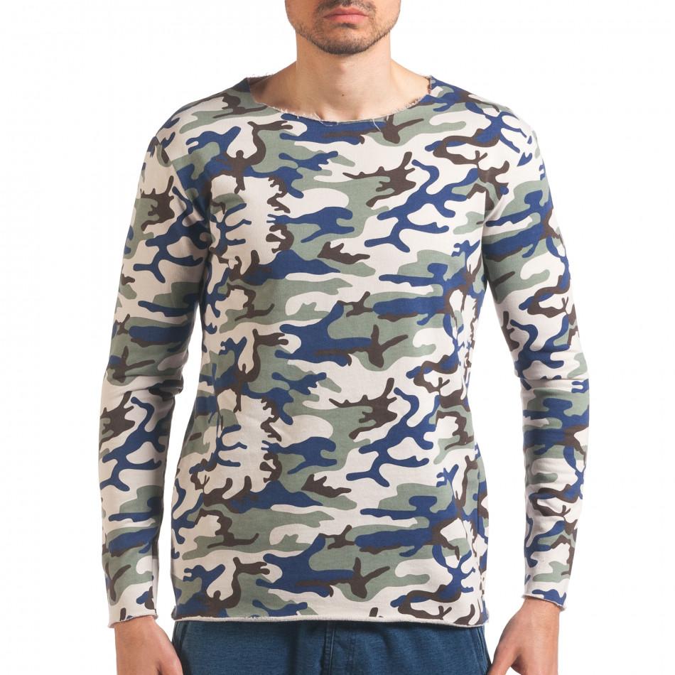 Мъжка блуза бежово-зелен камуфлаж it250416-73