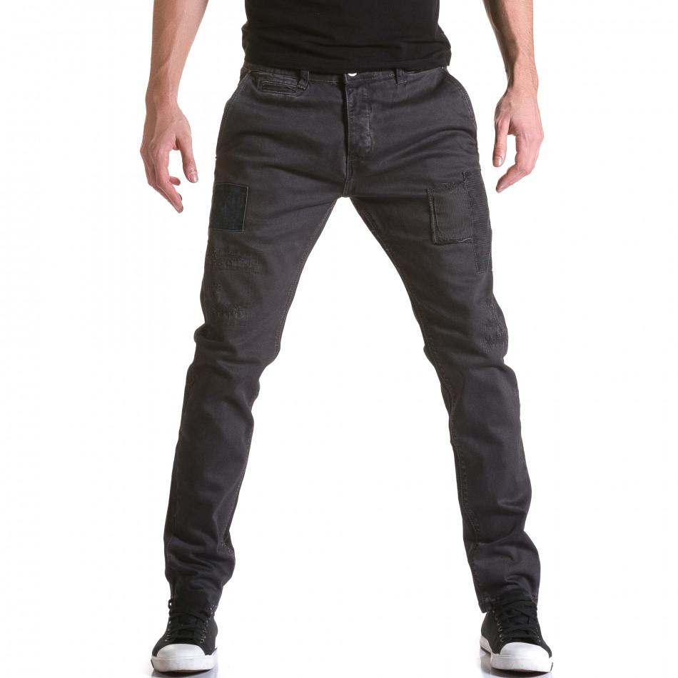 Мъжки сив панталон с декоративни кръпки it031215-16