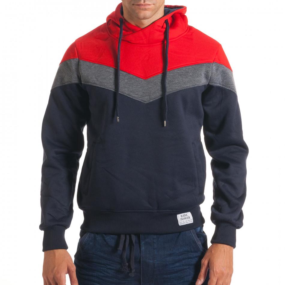 Мъжки син суичър със сива и червена част it240816-65