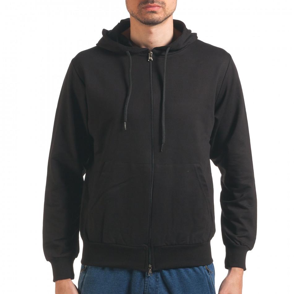 Черен мъжки суичър с цип отпред it250416-93