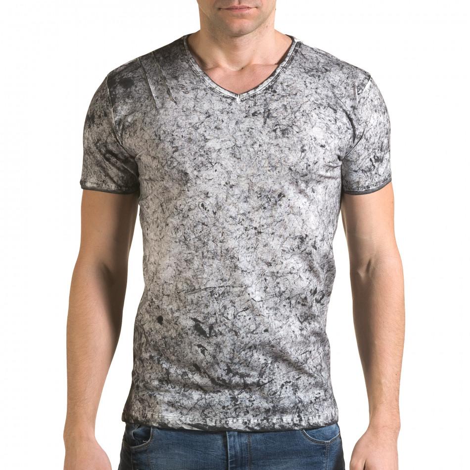 Мъжка сива тениска с избелял ефект il120216-17