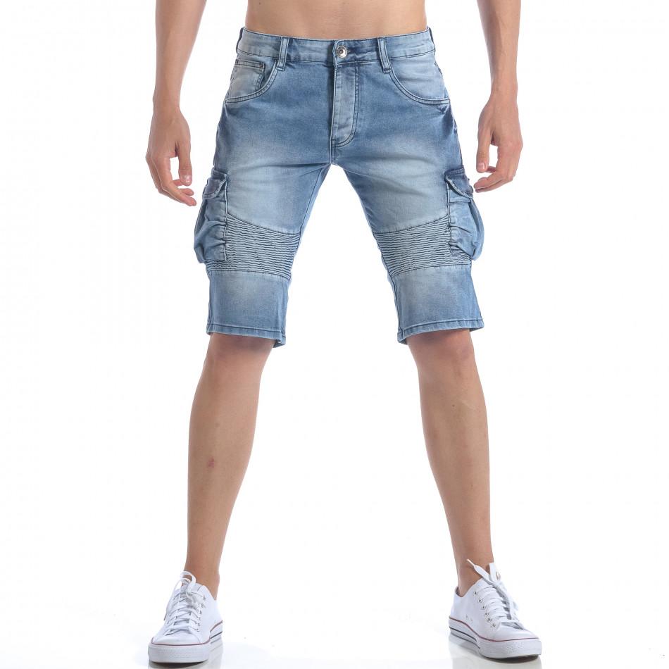 Мъжки къси дънки с джобове на крачолите it050617-35