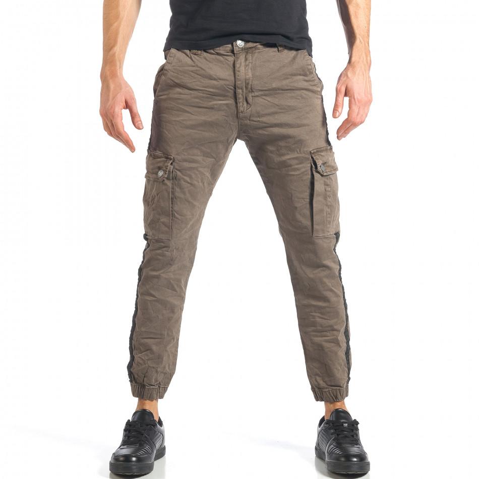 Мъжки зелен карго панталон с ленти отстрани it290118-11