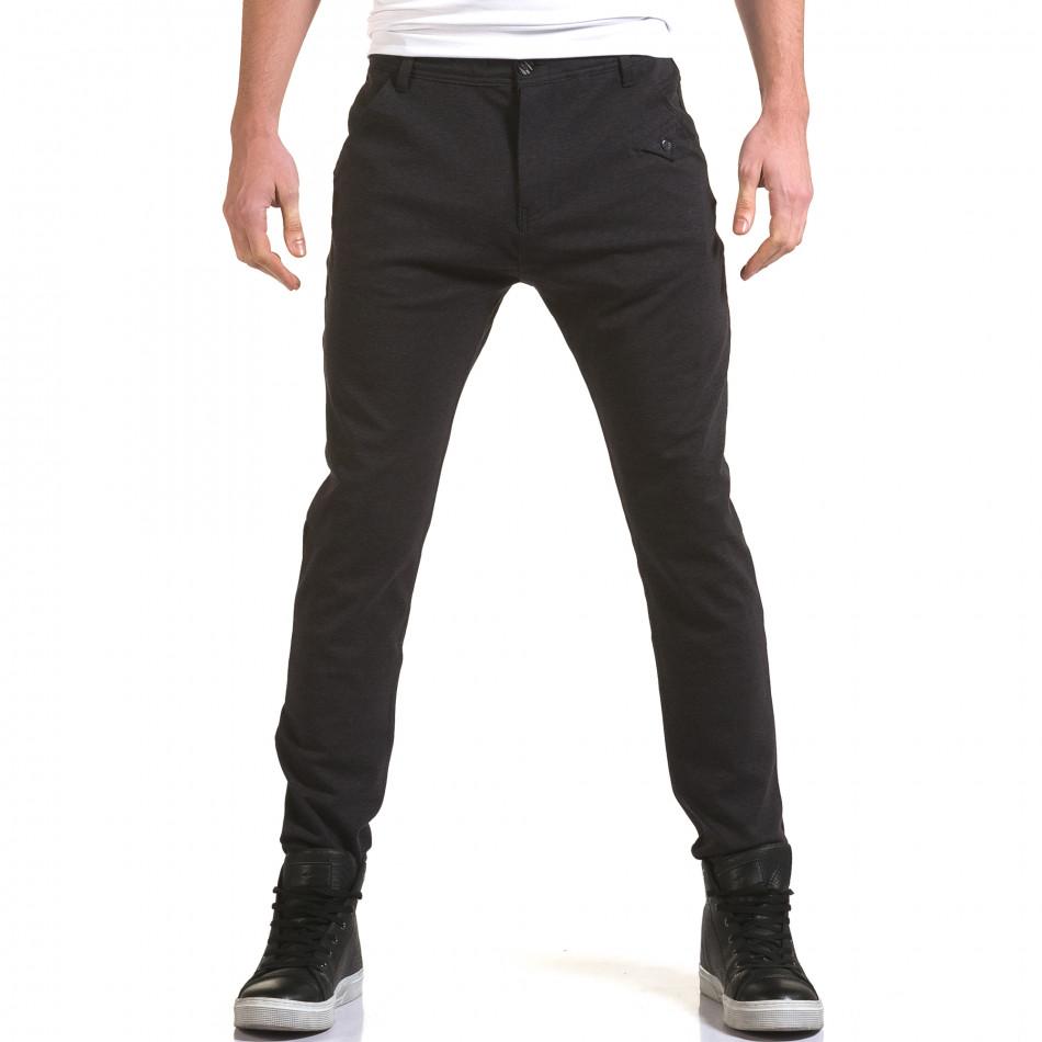 Мъжки синьо-сив панталон с малък детайл отпред it090216-2