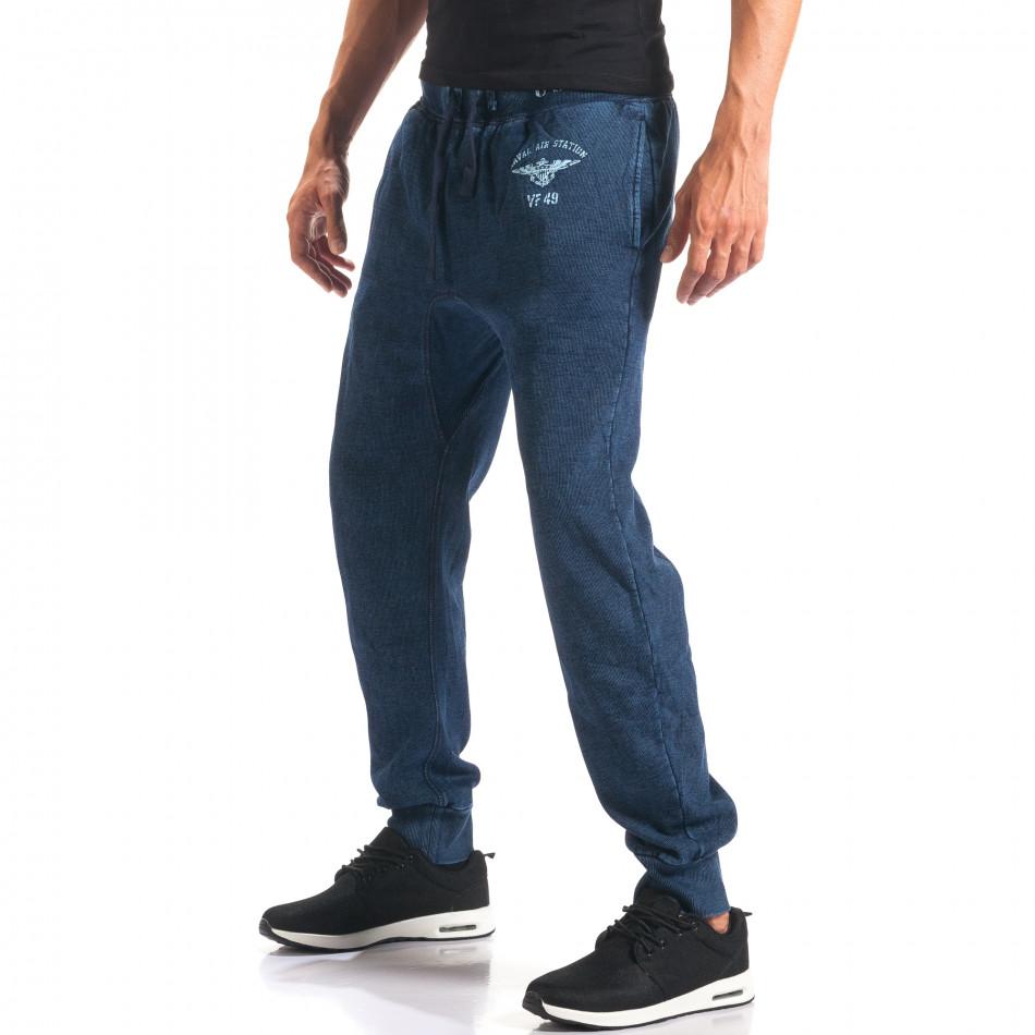 Мъжки сини потури с ефект на дънки и принт it160816-34