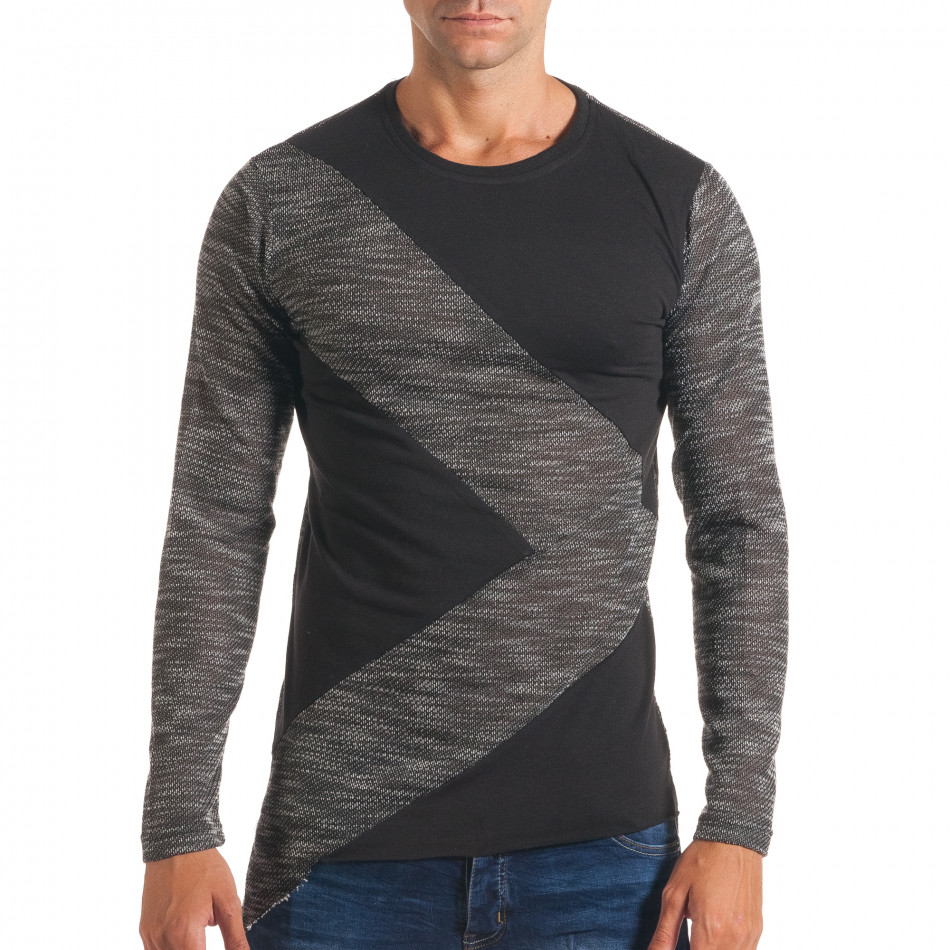 Мъжка тъмно сива блуза с черни части it180816-1
