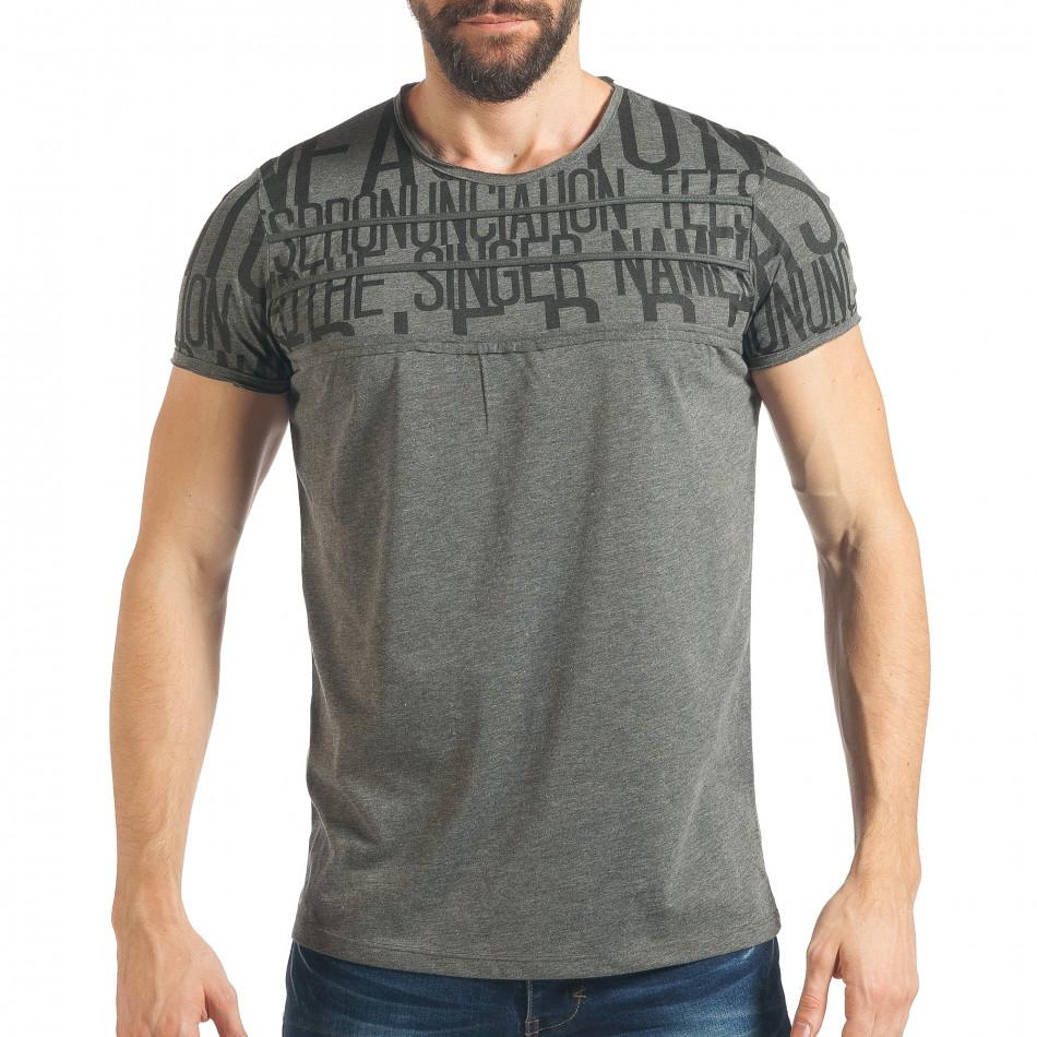 Мъжка сива тениска с пришити връзки tsf020218-65