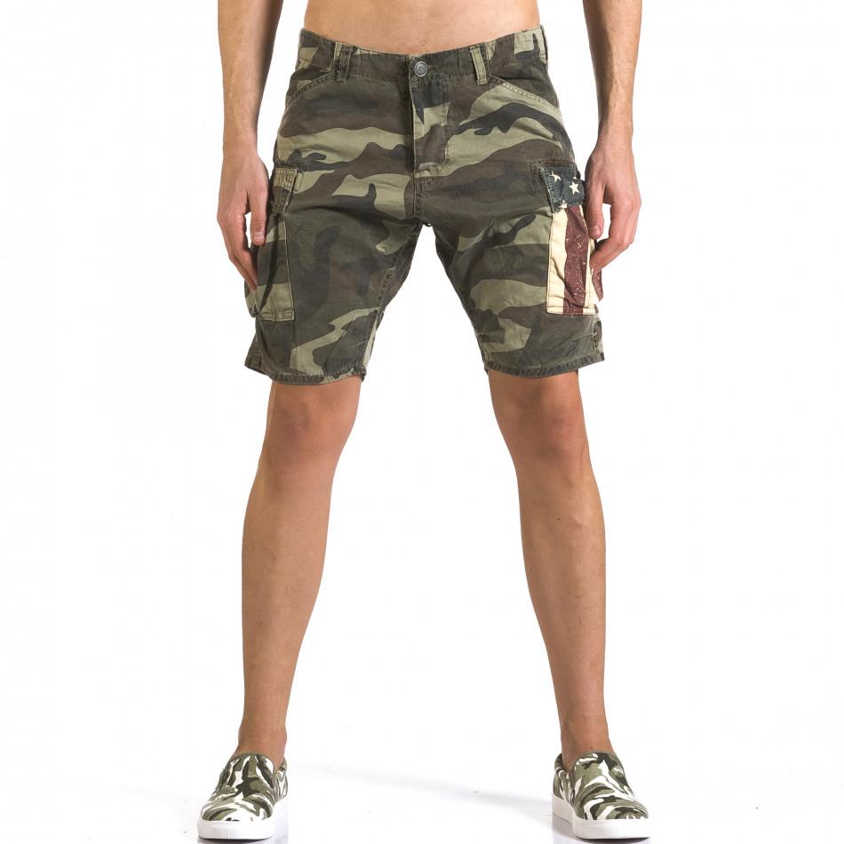 Мъжки къси панталони светло зелен камуфлаж it110316-56