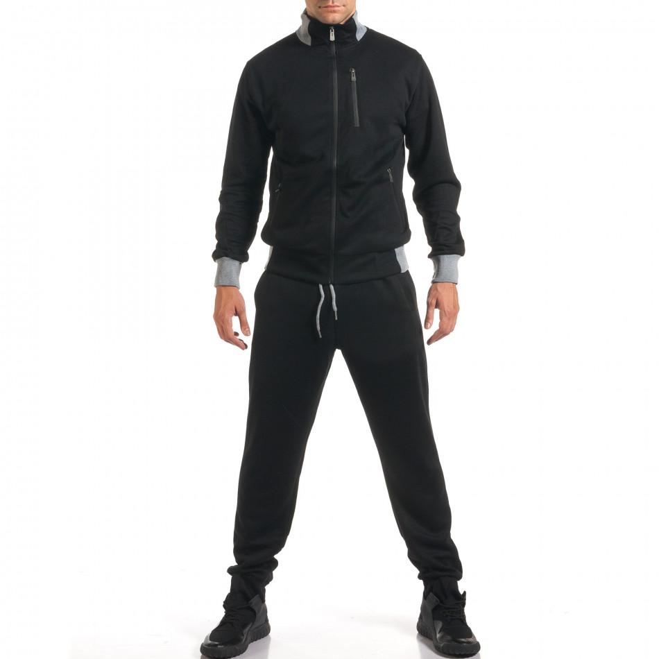 Мъжки черен спортен комплект с декоративен цип it160916-77