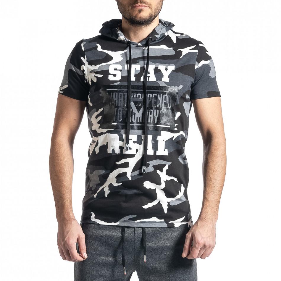 Мъжка тениска с качулка сив камуфлаж tr010221-27