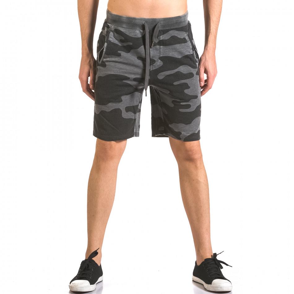 Мъжки къси панталони тип шорти сив камуфлаж ca050416-47