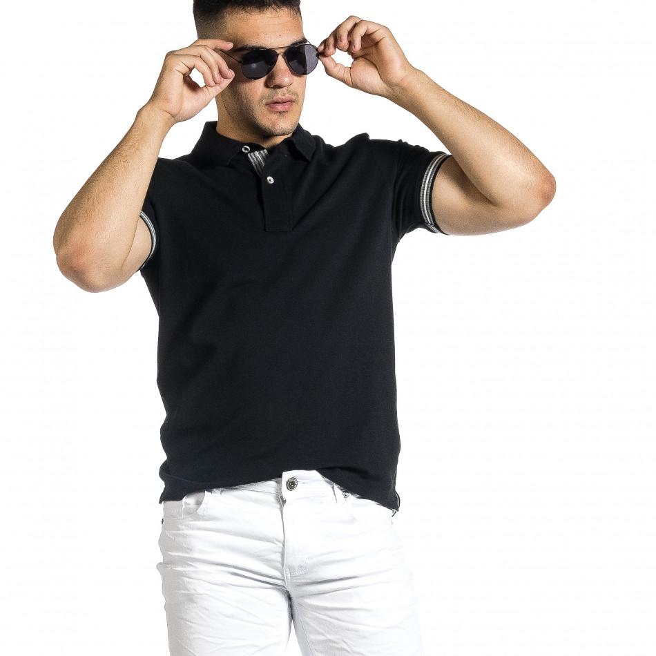 Мъжка черна тениска с яка и раирано бие it150521-18