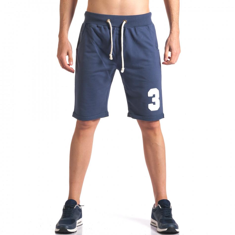 Мъжки сини шорти за спорт с номер it260416-24