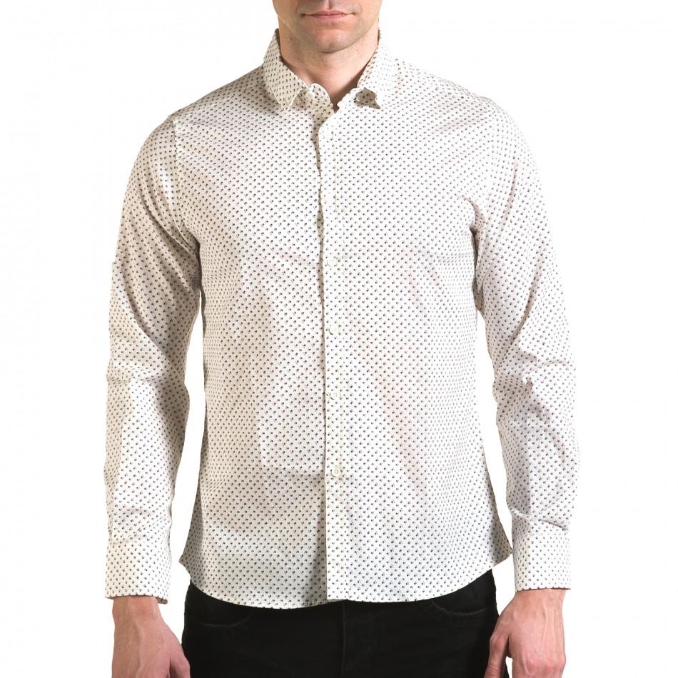 Мъжка бяла риза с малки розички il170216-98