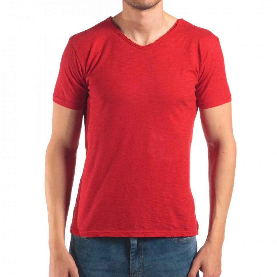 Мъжка червена тениска изчистен модел it150616-30