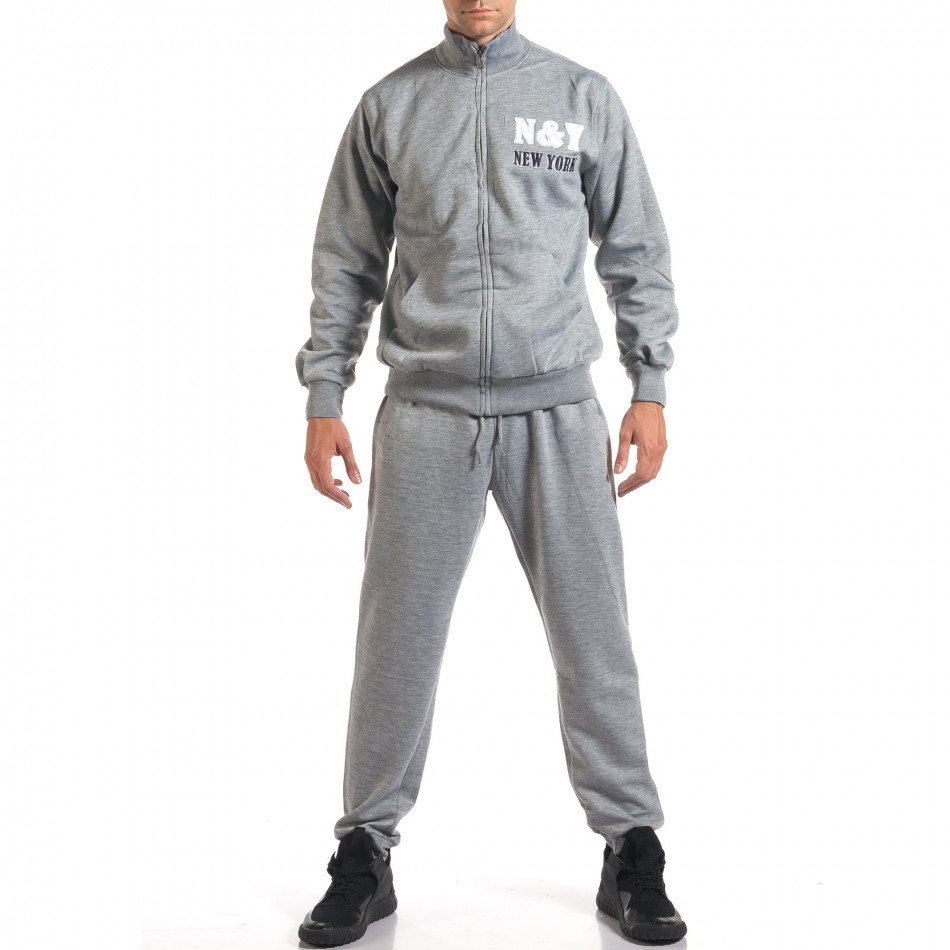 Мъжки светло сив спортен комплект с релефен надпис N&Y it160916-80