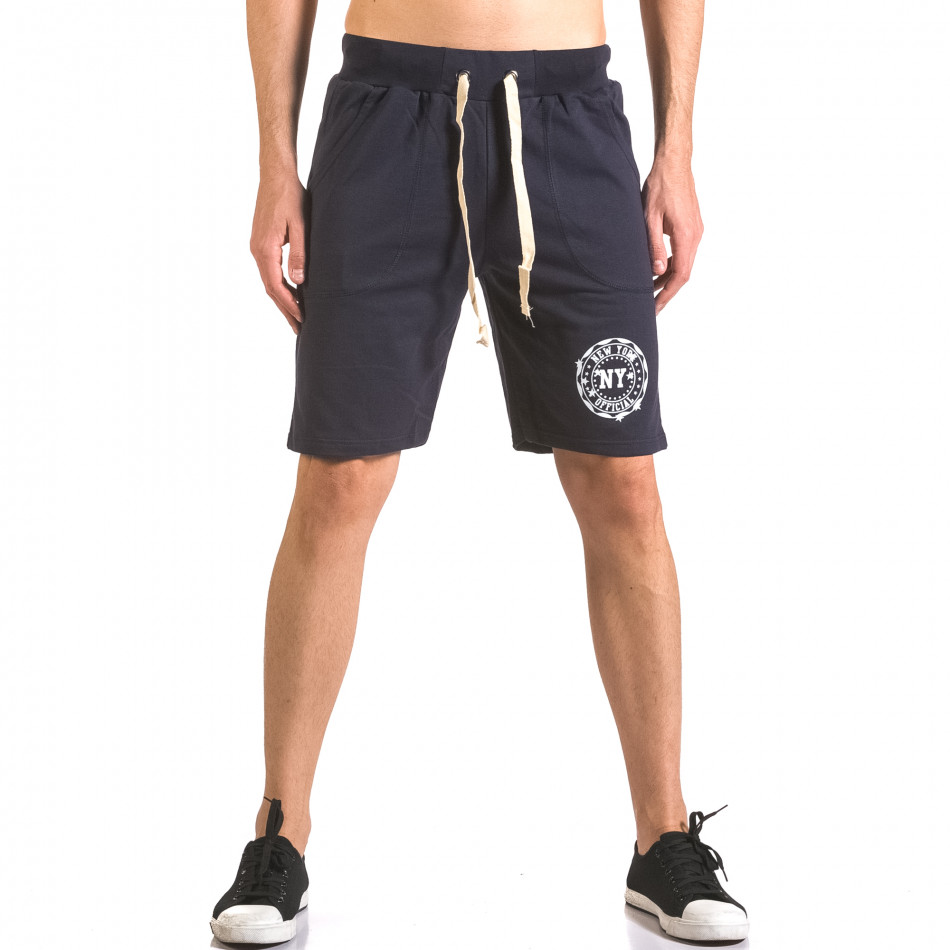 Мъжки сини шорти  за спорт с лого ca050416-43