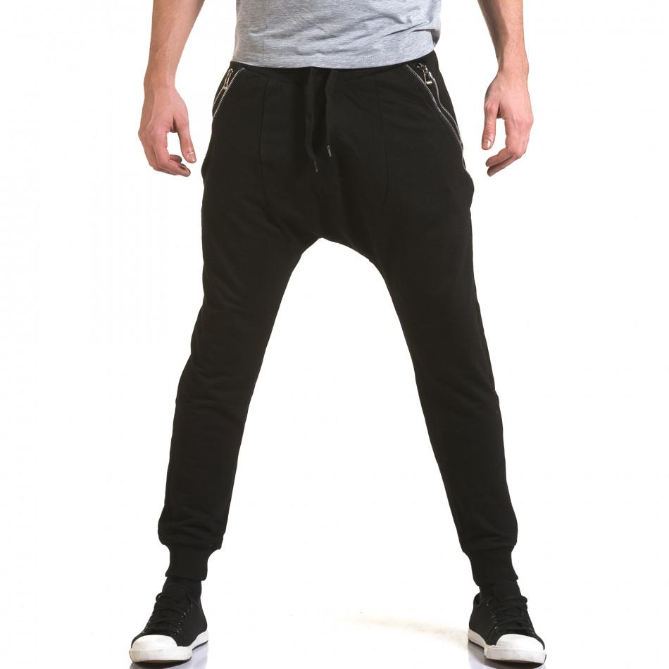 Мъжки черни потури със сребристи ципове it090216-42
